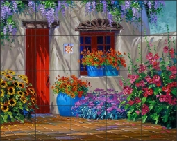 In the Shadow of the Wisteria by Mikki Senkarik Ceramic Tile Mural MSA136