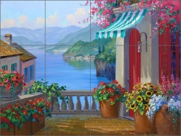 Lake Como Reflections by Mikki Senkarik Ceramic Tile Mural MSA139