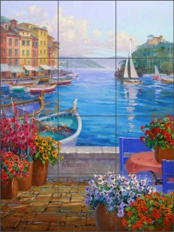 Memories of Portofino by Mikki Senkarik Ceramic Tile Mural - MSA140