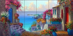 Senkarik Mediterranean Seascape Glass Wall & Floor Tile Mural - MSA142