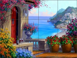 Positano Retreat by Mikki Senkarik Ceramic Tile Mural - MSA145