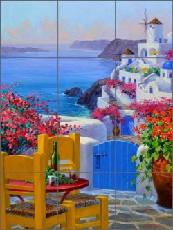 Santorini Overlook by Mikki Senkarik Ceramic Tile Mural MSA182