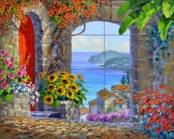 Treasure of the Cote d'Azur by Mikki Senkarik Ceramic Tile Mural MSA208