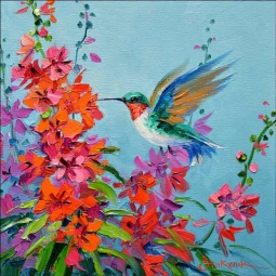 Hummingbird Surprise by Mikki Senkarik Floor Tile Art MSA229FL