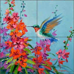 Hummingbird Surprise by Mikki Senkarik Ceramic Tile Mural MSA229