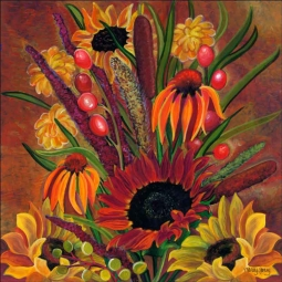 Fall Bouquet - Square by Nancy Jacey Ceramic Accent & Decor Tile - CPA-NJ13003-2AT