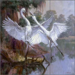 Two Cranes by Nenad Mirkovich Ceramic Tile Mural - NMA013