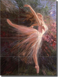 "Mirkovich Figurative Dancer Ceramic Tile Mural 12.75"" x 17"" - NMA027"