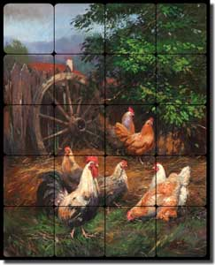 "Mirkovich Rooster Chicken Tumbled Marble Tile Mural 16"" x 20"" - NMA034"