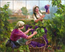 Grape Harvest by Nenad Mirkovich Ceramic Tile Mural - NMA036