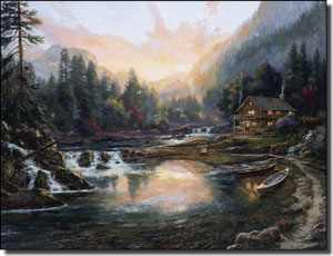 "Mirkovich Mountain Landscape Ceramic Accent Tile 8"" x 6"" - NMA056AT"