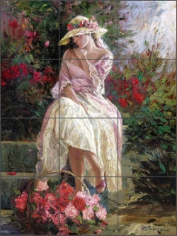 Rose Basket by Nenad Mirkovich Ceramic Tile Mural - NMA068