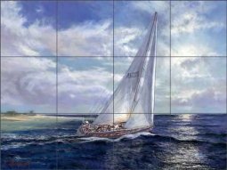 Mirkovich Nautical Sailboat Ceramic Tile Mural - NMA072