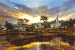 Village of Sheepscot by Nenad Mirkovich Ceramic Tile Mural - NMA084