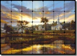 "Mirkovich Village Church Landscape Tumbled Marble Tile Mural 28"" x 20"" - NMA084"