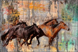 Galloping Horses by Agata & Hector Ceramic Tile Mural OB-AGA52