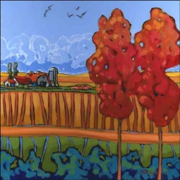 Tiller Farm Landscape Ceramic Accent Tile - OB-DOT08