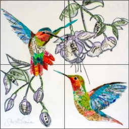 Hummers and Blooms 1 by Elizabeth St Hilaire Ceramic Tile Mural OB-EN1177