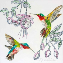Hummers and Blooms 2 by Elizabeth St Hilaire Accent & Decor Tile OB-EN1178AT