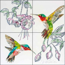 Hummers and Blooms 2 by Elizabeth St Hilaire Ceramic Tile Mural OB-EN1178
