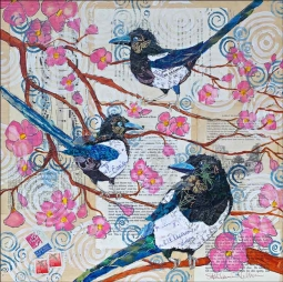 Magpies and Pink Blossoms by Elizabeth St Hilaire Ceramic Accent & Decor Tile OB-EN456AT