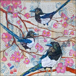 Magpies and Pink Blossoms by Elizabeth St Hilaire Ceramic Tile Mural OB-EN456