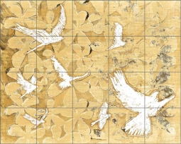 Birds on Brown by Elisabeth St Hilaire Ceramic Tile Mural OB-EN576