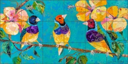 Tropical Finches by Elizabeth St Hilaire Ceramic Tile Mural OB-EN601