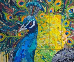 Poised Peacock 2 by Elizabeth St Hilaire Ceramic Tile Mural OB-EN76
