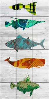 Five Fish on White by Elizabeth St Hilaire Ceramic Tile Mural OB-EN927