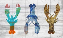 Three Lobsters on White by Elizabeth St Hilaire Ceramic Tile Mural OB-EN961