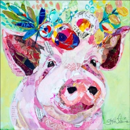 Floral Pig by Elizabeth St Hilaire Ceramic Accent & Decor Tile OB-EN983AT