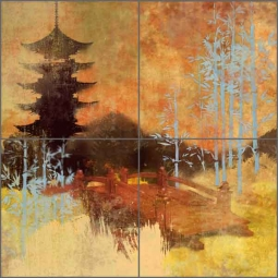 Oolong Tea Road by Evelia Ceramic Tile Mural - OB-ES148a