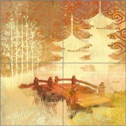 White Tea Bridge by Evelia Ceramic Tile Mural OB-ES159a