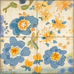 Asian Tea Flowers by Evelia Ceramic Tile Mural OB-ES53a