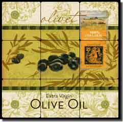 "Evelia Kitchen Olive Oil Tumbled Marble Tile Mural 18"" x 18"" - OB-ES55"