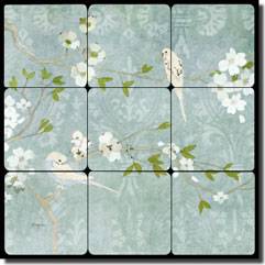 "Evelia Birds Floral Tumbled Marble Tile Mural 12"" x 12"" - OB-ES66a"