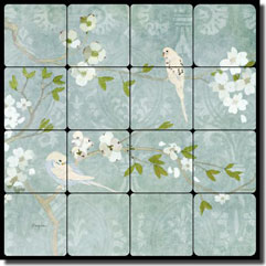 "Evelia Birds Floral Tumbled Marble Tile Mural 16"" x 16"" - OB-ES66a"