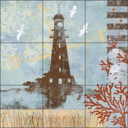 Oceanside Breeze by Evelia Ceramic Tile Mural - OB-ES75c