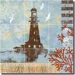 "Evelia Nautical Lighthouse Floor Tile Mural 24"" x 24"" - OB-ES75c"