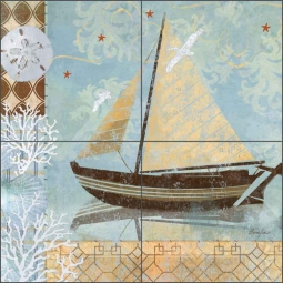 Oceanside Breeze II by Evelia Ceramic Tile Mural - OB-ES75d