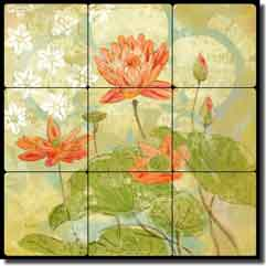 "Evelia Floral Pattern 12"" x 12"" Tumbled Marble Tile Mural - OB-ES76a"