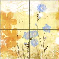 Wild Pincushions by Evelia Ceramic Tile Mural - OB-ES80a
