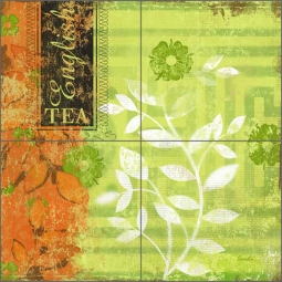English Tea Garden II by Evelia Ceramic Tile Mural - OB-ES82f