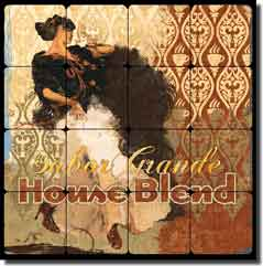 "Evelia Coffee Label Tumbled Marble Tile Mural 16"" x 16"" - OB-ES84c"