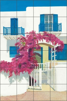 Blue Shutters by John Samson Ceramic Tile Mural - OB-JOS04