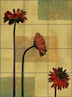 Metal Gerbera I by Louise Montillio Ceramic Tile Mural - OB-LM86a