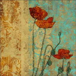 Poppies I by Louise Montillio Ceramic Accent & Decor Tile - OB-LM100aAT