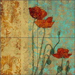 Poppies I by Louise Montillio Ceramic Tile Mural - OB-LM100a