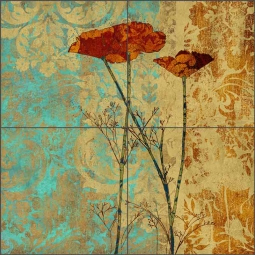 Poppies II by Louise Montillio Ceramic Tile Mural OB-LM100b